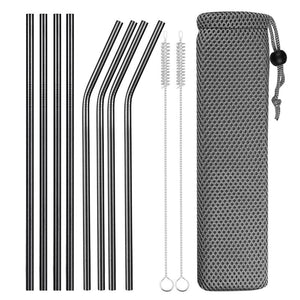 Set of Wide and Bent Black Eco-Friendly Reusable Stainless Steel Straws With Brushes in a Pouch.