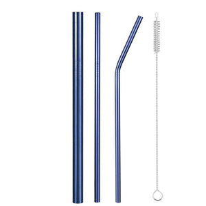 Set of Wide and Bent Blue Eco-Friendly Reusable Stainless Steel Straws With a Brush.