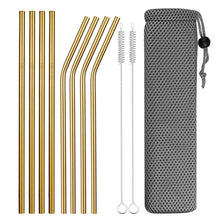 Load image into Gallery viewer, Set of Wide and Bent Gold Eco-Friendly Reusable Stainless Steel Straws With Brushes in a Pouch.