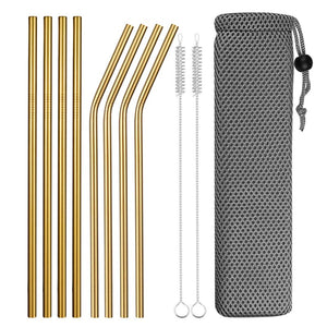 Set of Wide and Bent Gold Eco-Friendly Reusable Stainless Steel Straws With Brushes in a Pouch.