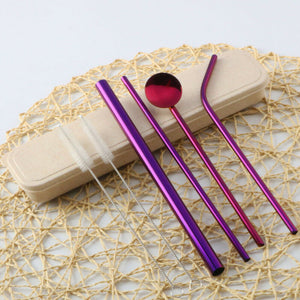 Reusable Metal Straw Set with Straw Spoon - 6 pcs