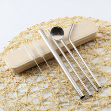 Load image into Gallery viewer, Reusable Metal Straw Set with Straw Spoon - 6 pcs