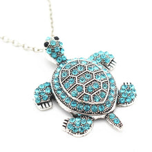 Load image into Gallery viewer, Aqua Turtle Pendant Necklace.