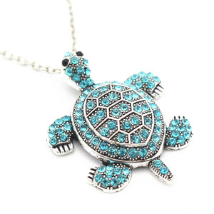 Aqua Turtle Pendant Necklace.