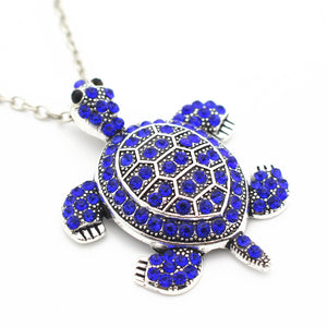 Blue Turtle Pendant Necklace.