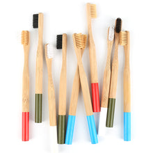 Load image into Gallery viewer, Multicolor organic bamboo toothbrush