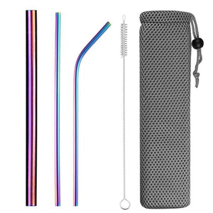 Eco-Friendly Reusable Stainless Steel Straws. Set of steel straws with a brush in a pouch.