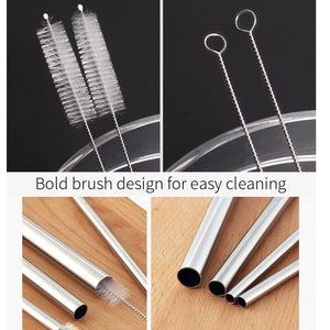 Eco-Friendly Reusable Stainless Steel Straws. Straws with a brush.