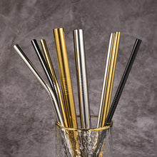 Load image into Gallery viewer, Eco-Friendly Reusable Stainless Steel Straws. Gold, Silver and black straws.