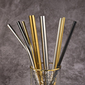 Eco-Friendly Reusable Stainless Steel Straws. Gold, Silver and black straws.