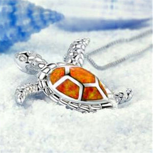 Orange Sea Turtle Necklace.
