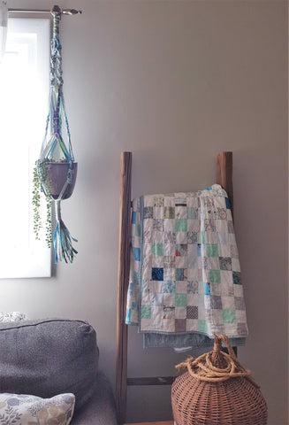 finished scrappy fabric macramé plant hanger with plant