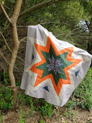 Center starburst of the expanding star quilt pattern