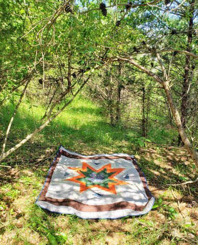 Earthy Woodland Starburst quilt in the wild