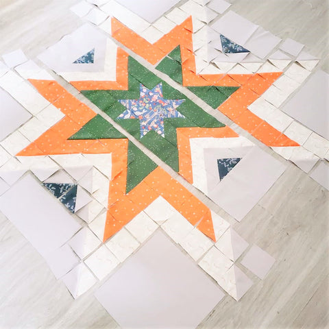 Earthy Woodland Expanding Star quilt in progress