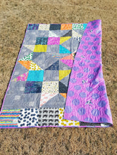 Load image into Gallery viewer, front and backing of bright and bold twin quilt from La Rue de Fleurs
