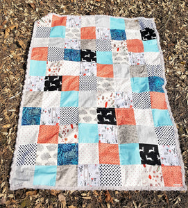Forest Friends Patchwork Minky Blanket