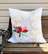 Load image into Gallery viewer, Expanding Star Pillow with Floral Appliquè