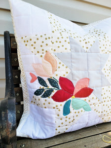 Expanding Star Pillow with Floral Appliquè