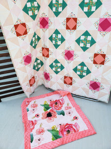 Floral Cross Quilt and Lovey Gift Bundle