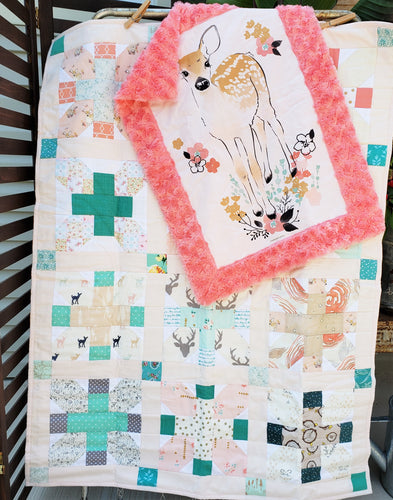 Feminine Woodland Plus Quilt and Lovey Gift Bundle
