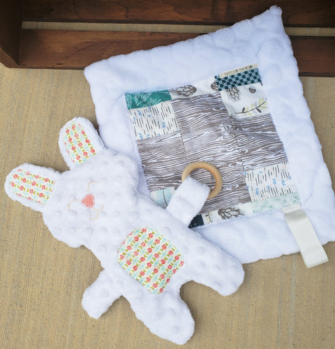 Floral Teething Bunny Lovey Bundle