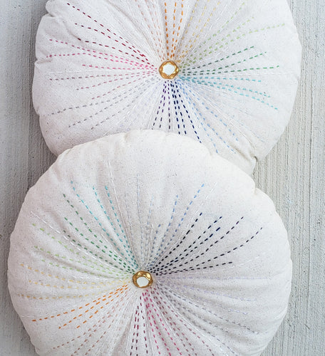 Hand Embroidered Rainbow Burst Pillow Bundled
