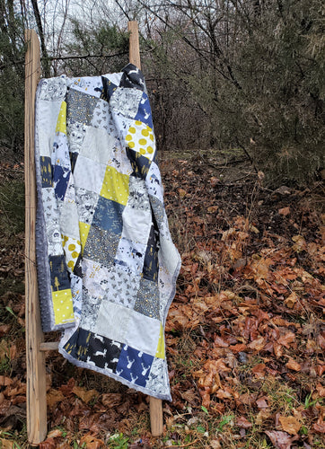 Wilderness Patchwork Minky Blanket in Navy, Lime and Gray (Roam Wild)