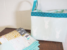Load image into Gallery viewer, Fabric Storage Basket (Teal Stag)