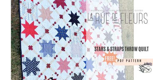 Stars and Straps Throw Quilt Pattern - FREE Digital PDF