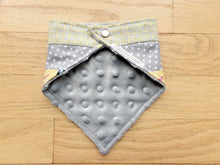 Load image into Gallery viewer, Bandanna Baby Bib (Yellow and Gray Fox Patchwork)
