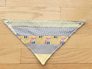 Bandanna Baby Bib (Yellow and Gray Fox Patchwork)
