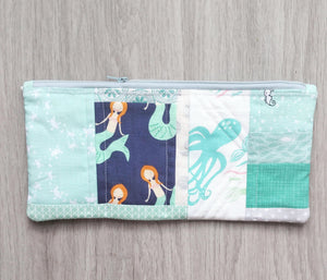 Aqua Mermaid Quilted Zipper Pouch