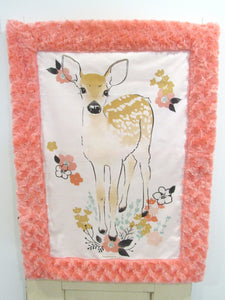 Woodland Fawn Minky Lovey in Coral Rose