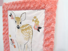 Load image into Gallery viewer, Woodland Fawn Minky Lovey in Coral Rose