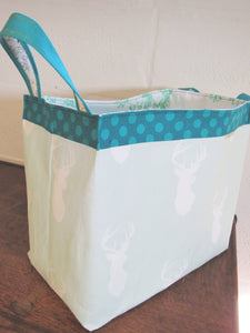 Fabric Storage Basket (Teal Stag)