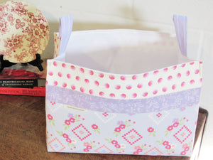 Fabric Storage Basket (Purple Floral)