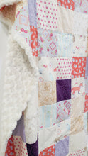 Load image into Gallery viewer, Bohemian Fox and Deer Patchwork Minky Blanket