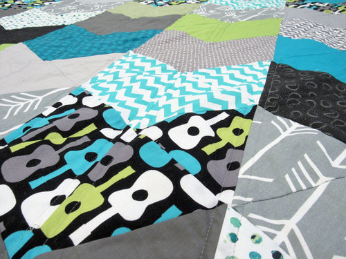 Modern Guitar Geometric Throw Quilt