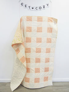 Peaches and Cream Buffalo Check Toddler Quilt