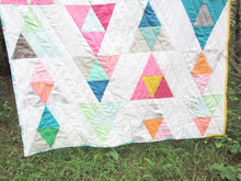 Load image into Gallery viewer, Chasing Rainbows Modern Geometric Kid's Quilt