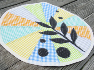 Modern Leaf Appliqued Table Topper