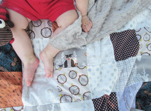 Woodland Patchwork Minky Blanket (Hello Bear)
