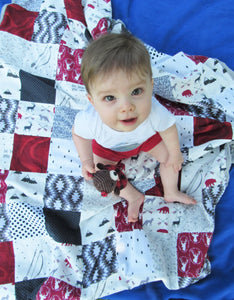 Adventure Patchwork Minky Blanket (Red Mountain)