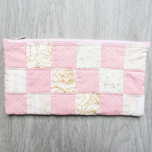 Coral Rose Quilted Zipper Pouch