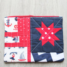Load image into Gallery viewer, Nautical Star Quilted Zipper Pouch