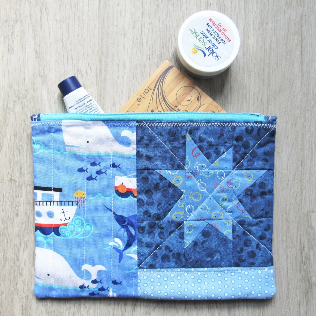 Whale and Fish Quilted Zipper Pouch