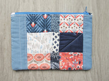 Load image into Gallery viewer, Boho Blue Floral Quilted Zipper Pouch