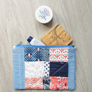 Boho Blue Floral Quilted Zipper Pouch
