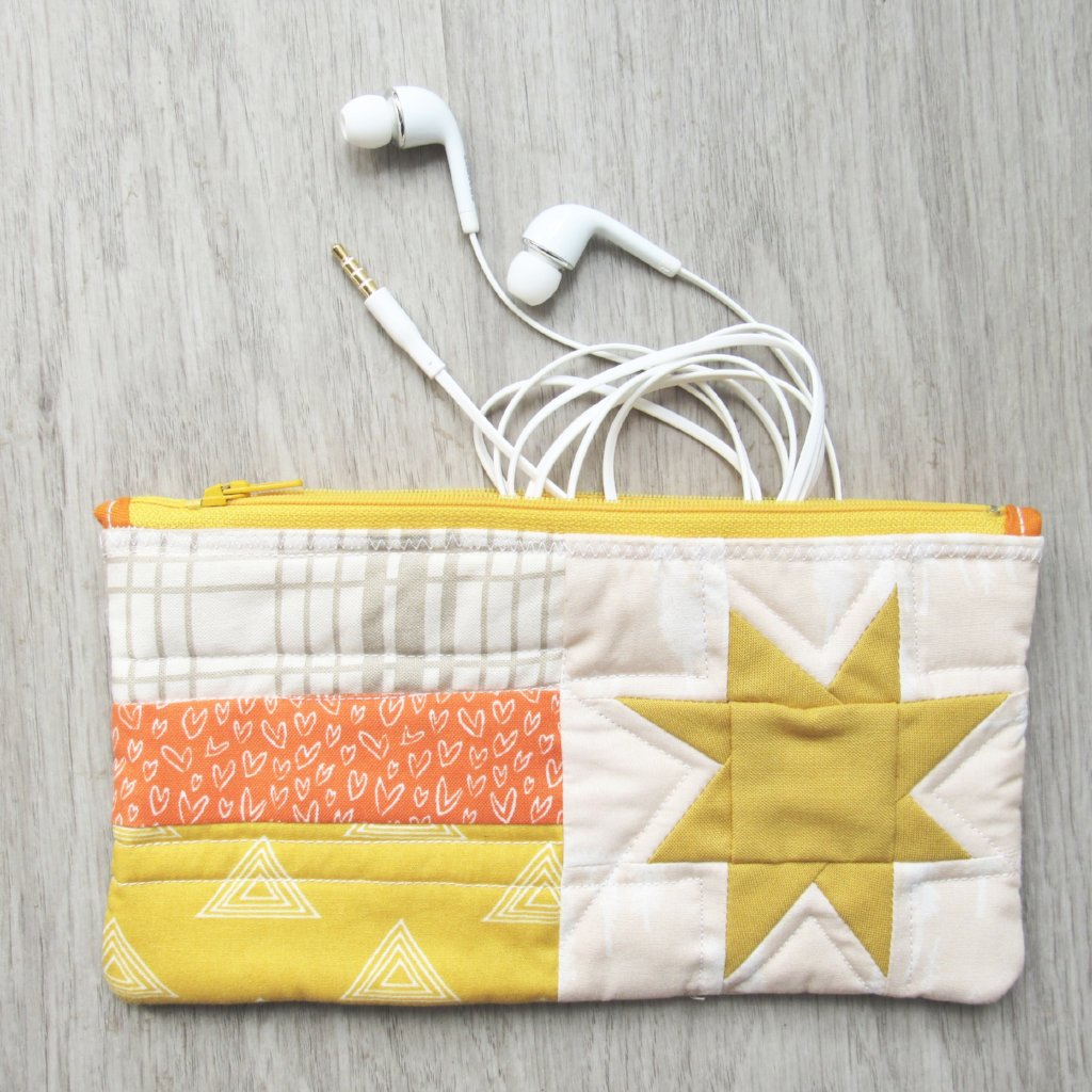 Golden Star Quilted Zipper Pouch